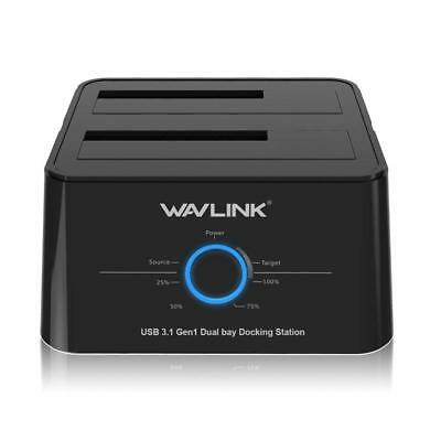 Wavlink USB C 3.1 to SATA Dual Bay External Hard Drive Docking Station with Offl