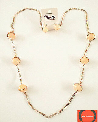 Mode peach faceted stone with gold chain chunky statement necklace & earring set