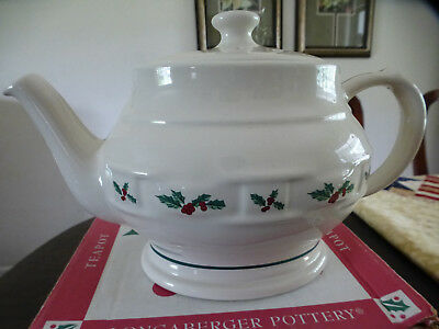 Longaberger Pottery Large Teapot in Traditional Holly New in Box!