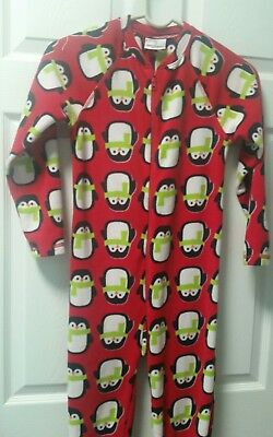 Hanna Andersson One-piece Footed Pajamas size 130 US 8 red penguin flannel