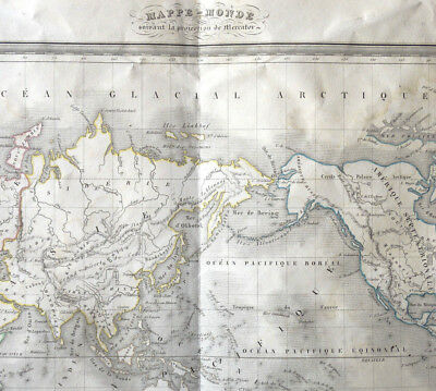 MAPS-WORLD projection Mercator circa 1820 Engraving Thierry 60cm