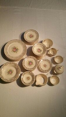 Vintage Limoges Triumph Rosalie pattern 22K gold trim China set, 1940s. 71 piece