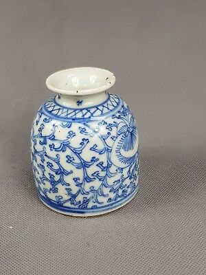 Chinese blue white Inkwell Scholars Item Plants Fruits