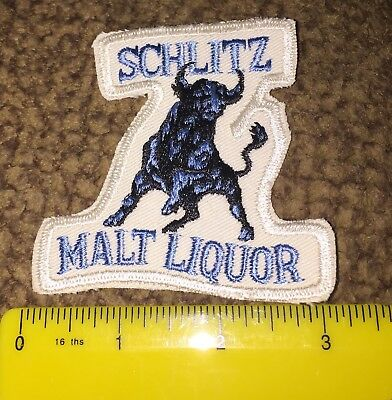 "Vintage Schlitz Malt Liquor ""Bull"" Cloth Patch 3"" X 2 1/2"""