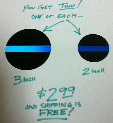 Thin Blue Line Police  ROUND TBL decals- SET OF 2 REFLECTIVE -Ships FREE