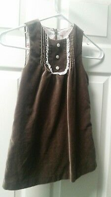 JANIE AND JACK Girls size 3T All in Bows Brown Velour dress jumper fall winter