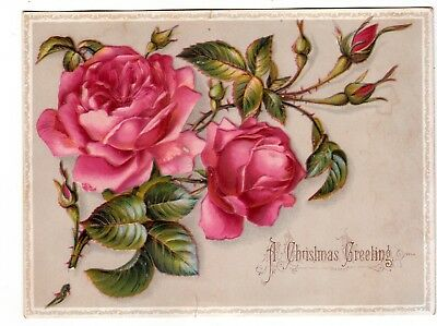 A Christmas Greeting Pink Roses Embossed Vict Card 1880s