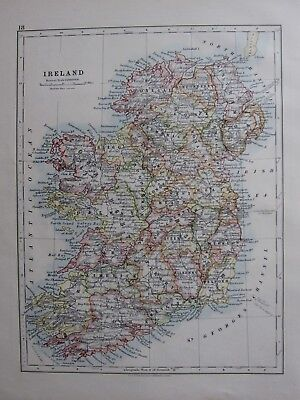1904 Map ~ Ireland Clare Limerick Wicklow Tyrol Connaught Munster