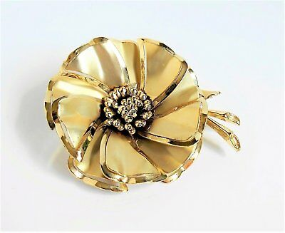 Vintage Gold Flower Brooch Metal Daisy Pin Round Layered 3 inch Unsigned