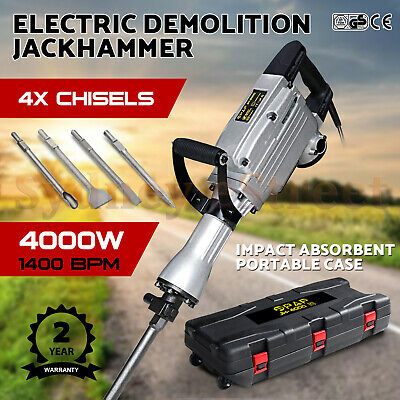 2400W / 3000W Electric Demolition Jack Hammer Commercial Jackhammer 4 Chisels OZ