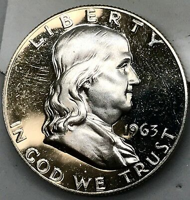 #1 1963 ~ Choice Gem Proof Franklin Half Dollar Us Silver Coin.