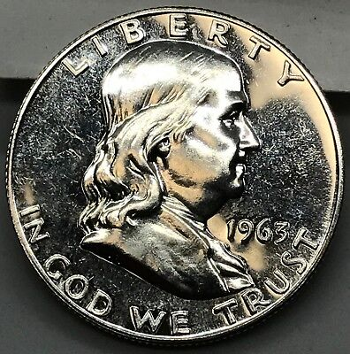 #2 1963 ~ Choice Gem Proof Franklin Half Dollar Us Silver Coin.