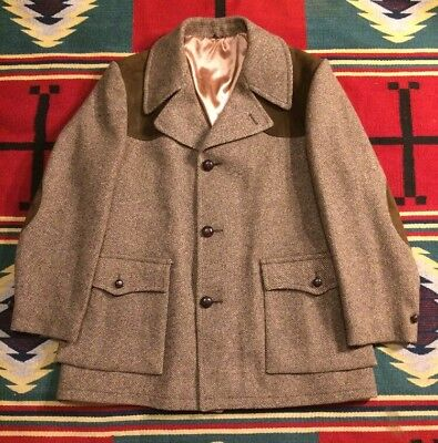 Vtg Belt Back Norfolk Style Brown Wool Tweed Hunting Shooting Jacket XL!!!