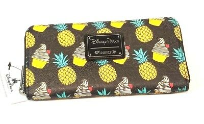 Loungefly Disney Parks Exclusive Dole Whip Pineapple Print Zip Around Wallet NWT