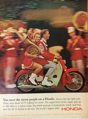 "Pair of Vintage1966 Honda Motorcycle ""You Meet the Nicest People"" Magazine Ads"