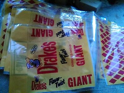 2 Original Vintage DRAKES BREAD BAGS new old stock