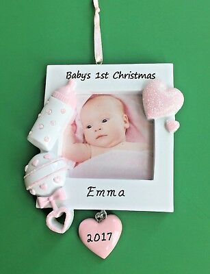Baby's First Christmas Ornament - Girl - Personalized