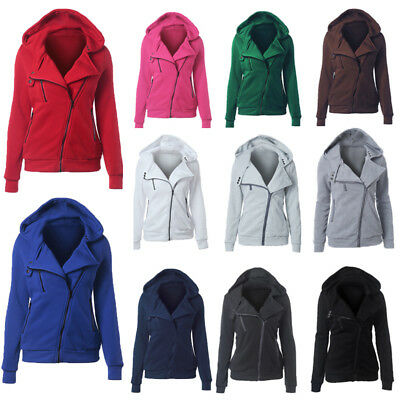 Womens Winter Warm Hoodies Ladies Casual Hooded Coat Zip Up Jacket Tops