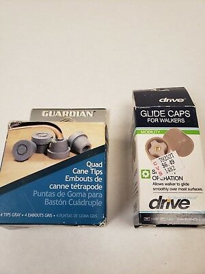"Lot Drive 1"" Walker Replacement Glide Caps and cane tips by Guardian. NIB"