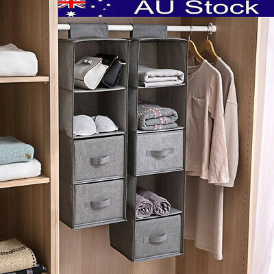 3-5 Section Shelves Hanging Garment Organiser Wardrobe Room Storage Shoe Clothes