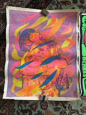 1960s Psychedelic Rock Blacklight Acid Lsd Paper Poster Art Original Lot Of 2
