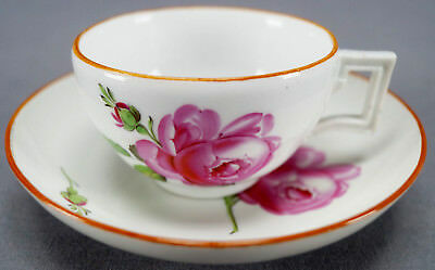 Meissen Marcolini Period Hand Painted Pink Rose Tea Cup & Saucer C. 1774 - 1817