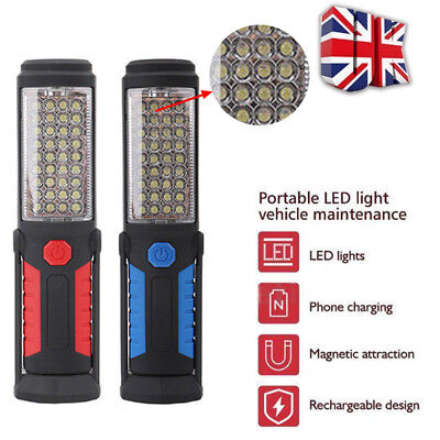Rechargeable COB+5LED Hand Torch Lamp Magnetic Inspection Work Light Flexible UK