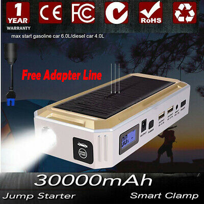 30000mAh Solar Power Car Jump Starter Emergency Charger Booster Bank Battery 12V