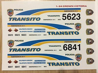 1/24 Puerto Rico Policia Transito. Fcv./// One Set Decal For Only One Car./.new