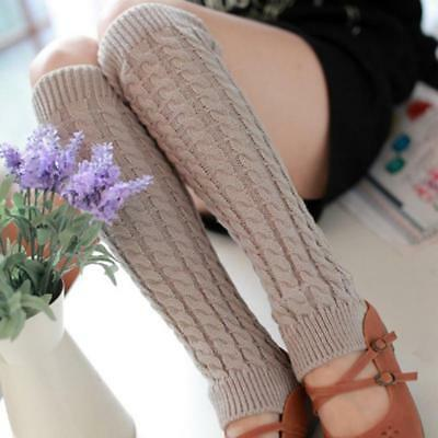 Leg Warmers Women Knee High Winter Knit Crochet Leggings Boot Socks Slouch BS