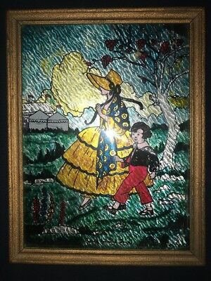 """Victorian Antique Reverse Painted Glass Foil """"Going To The Fair"""" 13x10"""