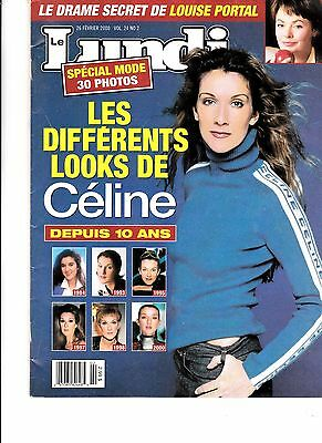 """Celine Dion  Rare Lundi Magazine """"february 2000""""  8 Pages And Mint"""