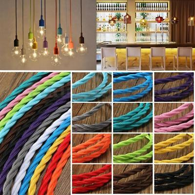 Vintage Fabric Braided Silk Twisted Coloured Lighting Cable Flex 2core 0.75mm UK