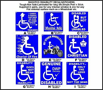 """Disability Sticker set with a SOH-Totally non fade-Simple Peel """"n"""" Stick."""