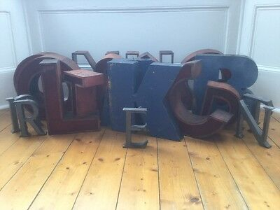 1940/50's Metal Letter E Sign Name Initial Prop Industrial