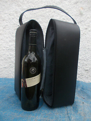 Black Genuine Leather & Blue Pigskin Suede Lined Double Wine Carrier-Vgc