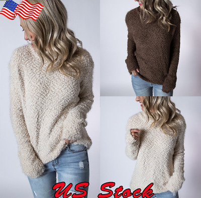 US Women Fall Knitted Sweater Long Sleeve Pullover Loose Oversized Outwear Knit