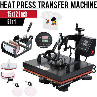 Ridgeyard 5 IN 1 Heat Press Machine Sublimation Transfer Cap Plate Mug T-shirt