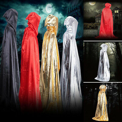 Unisex Hooded Cloak Medieval Witch Vampire Wiccan Halloween Cape Costume Coat