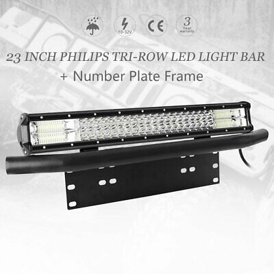 23'' inch Tri-row Philips LED Light Bar + 23'' Number Plate Frame Mount Bracket