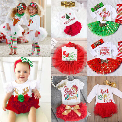 Baby Girls Christmas Tops Romper Princess Party Tutu Dress Outfits Set Clothes