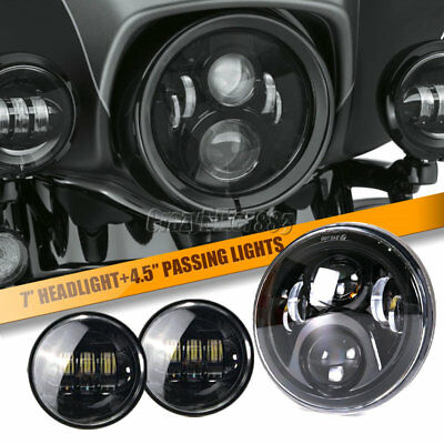 """7"""" 70W LED Projector Daymaker Headlight + Passing Lights For Harley Touring DOT"""