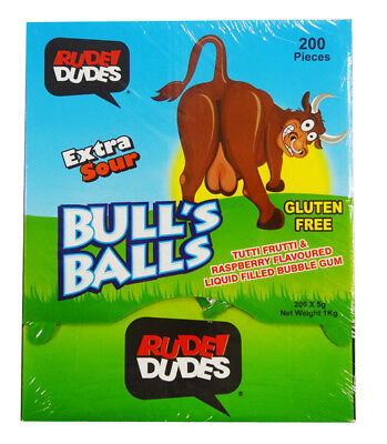 Rude Dudes - Bull's Ball - Extra Sour Bubble Gum (200pc display box)