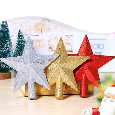 Glitter Star Christmas Tree Topper Ornaments Xmas Patry Decoration 3Colors 20cm