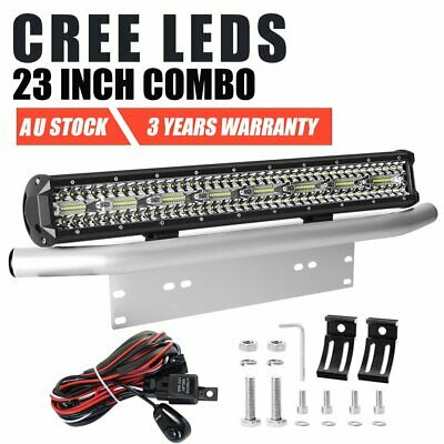 23 inch Tri-row CREE LED Combo Light Bar + 23'' Number Plate Frame Mount Silver