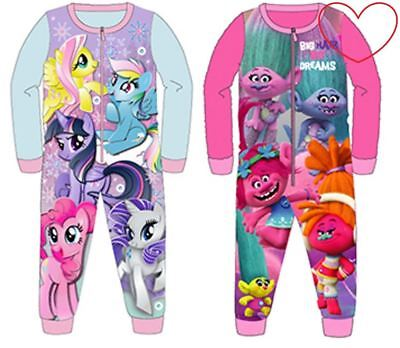 Girls Character All in One Pyjamas Fleece Trolls My Pony Kids Gift