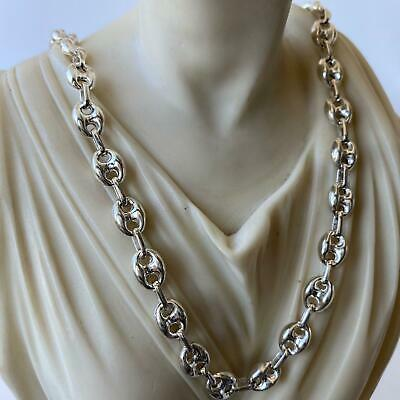 14mm 22 Inch Hollow Puffed Marina Link Chain Necklaces 50GR 925 Silver Sterling
