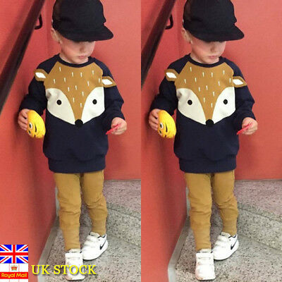 Baby Boys Kids Long Sleeve Tops Pullover Jumper Toddler Fox Ear Print Shirt Tops