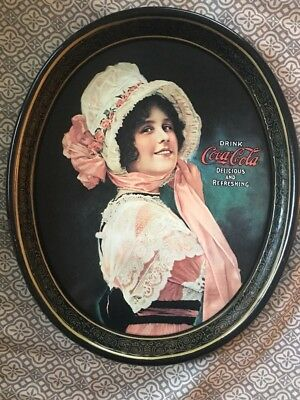 Coca-Cola Vintage 1972 Metal Oval Serving Tray 1914 Betty Girl