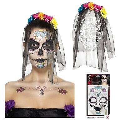 Day of the Dead  Decorative Face Tattoo Halloween Headband with Veil Bundle